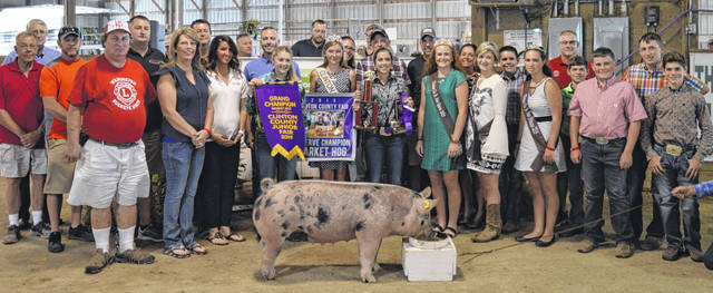 The Reserve Champion market hog exhibited by Jessee Stewart of the Sabina area brought a $5,675 price at the Clinton County Junior Fair livestock sales. The buyers are ATSG (Air Transport Services Group), Ag-Pro, AgriGold Hybrids, Alexander-Gerber Crop Insurance, American Equipment Service, Arolyn Place, Bane-Welker Equipment, Beck's Hybrids / Jason Gentry, Cherrybend Pheasant Farm / Ellis Farms, Country View Pet Hospital / Dr. Jill Thompson, Croghan Trucking / Tom Rayburn Memorial, DeBold Builders, Beth and Matt Ellis, Marci and Mitchell Ellis, Farm Credit Services, Greater Tomorrow Health, Groves Tire & Service, Henry and William Hildebrandt, Jason Schneder Family, Jerry Haag Motors, John and Kathy Johnson, Johnson Durocs, Long's Pharmacy, Luttrell Trucking, Master Feed Mill in Wilmington, Murphy Farms, No. 1 China Buffet, Orchard Veterinary Care, R+L Carriers / Roberts Centre, Smith Farms Trucking, Brady and Donna Snyder, Southern Hills Community Bank, Sunrise Cooperative, Thompson Farms Show Feed, Traditions Restaurant & Catering, Ron Trusty Insurance, Vaughan Livestock, Vital Fitness, Wilmington Lions Club, Wilmington Savings Bank, Brad and Angela Woodruff, and the World Equestrian Center.