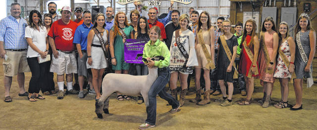 The Reserve Champion market lamb exhibited by Gabrielle Croghan of the Wilmington area received a bid of $2,675 at the Clinton County Junior Fair livestock sales. The buyers are AIA Desinger Set and Mike and Annette Houck, Accurate Soils, Ag-Pro, Alexander Show Feeds, American Equipment Service, Arehart-Brown Funeral Service, Barger Property Services, Bush Auto Place, Cherrybend Pheasant Farm / Ellis Farms, Croghan Trucking / Tom Rayburn Memorial, D&E Equipment Company, Davis Strong, DeBold Builders, Doug Rinehart, Marci and Mitchell Ellis, Emily Brautigam, Foxworthy Enterprises, Groves Tire & Service, Henry and William Hildebrandt, Keri and Alex Hodson, Jeff and Sandy Hartman Family, LGSTX Services, Bill Marine Ford, McCarty Gardens, Steve and Roseanne McKay, Merchants National Bank, Perry and Michele Milner Family, Murphy Family, Murphy Farms, Oak View Farms, Orchard Veterinary Care, Peelle Law Offices, Greg and JoAnn Quallen, Reynolds-Smith Funeral Homes, Ryan Seaman Building & Contracting, Schneder Farms, Skyline Chili in Wilmington, Smith Farms Trucking, Brady and Donna Snyder, Sunrise Cooperative, Ron Trusty Insurance, Wilmington Auto Center - Chrysler, Dodge, Jeep, RAM, the Wilmington Lions Club, and Wilmington Savings Bank.