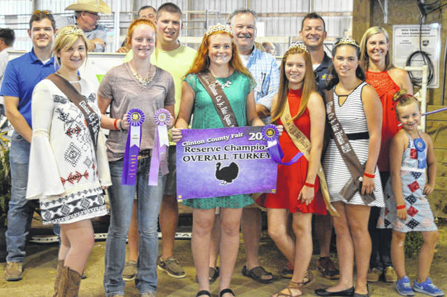 The Reserve Champion turkey exhibited by Myah Jones of the New Vienna area went for $475 at the Clinton County Junior Fair livestock sales. The buyers are Arehart-Brown Funeral Services, CM Farms, Judge Chad Carey, Clinton Animal Care Center, First State Bank, Groves Tire & Service, Imagine That Tool Rental, Nationwide Insurance / Justin Holbrook, Panetta Excavating, Peoples Bank, Sunrise Cooperative, and Webbland Farm Excavating.