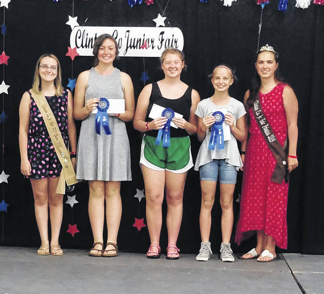 Sewing Challenge Winners shown with the Fair Queen and princess are, from left: Jennna Hanlon, Intermediate; Anna Garnai, Advanced; and Addison Swope, Beginner.