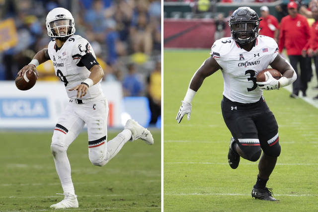 FILE - At left, in a Sept. 1, 2018, file photo, Cincinnati quarterback Desmond Ridder (9) runs against UCLA during the second half of an NCAA college football game in Pasadena, Calif. At right, in an Oct. 20, 2018, file photo, Cincinnati's running back Michael Warren II (3) carries during the first half of an NCAA college football against Temple in Philadelphia. Cincinnati improved from 4-8 in 2017 to 11-2 last year with redshirt freshman quarterback Desmond Ridder throwing 20 touchdown passes and only five interceptions. Cincinnati also returns Michael Warren, who rushed for 1,329 yards last season. (AP Photo/File)
