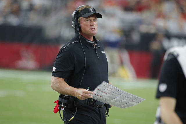 "FILE - In this Aug. 15, 2019, file photo, Oakland Raiders head coach Jon Gruden is shown during an NFL preseason football game against the Arizona Cardinals in Glendale, Ariz. The Raiders' worldwide tour gets started in the preseason when they play a ""home"" exhibition against Green Bay in Winnipeg on Thursday, Aug. 22. (AP Photo/Rick Scuteri, File)"