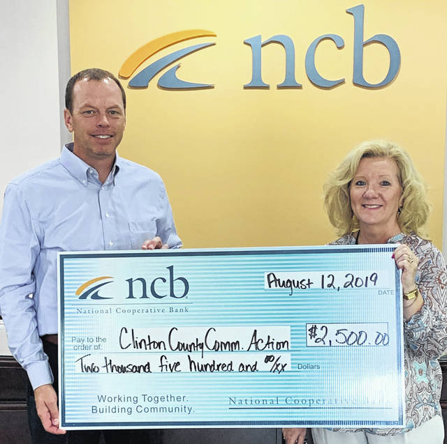 NCB donated $2,500 to Clinton County Community Action. The money will be used for a variety of services for Clinton County seniors, including home-delivered meals, transportation and supportive services. Pictured are NCB's Rodney Donley and Jane Newkirk with Clinton County Community Action.