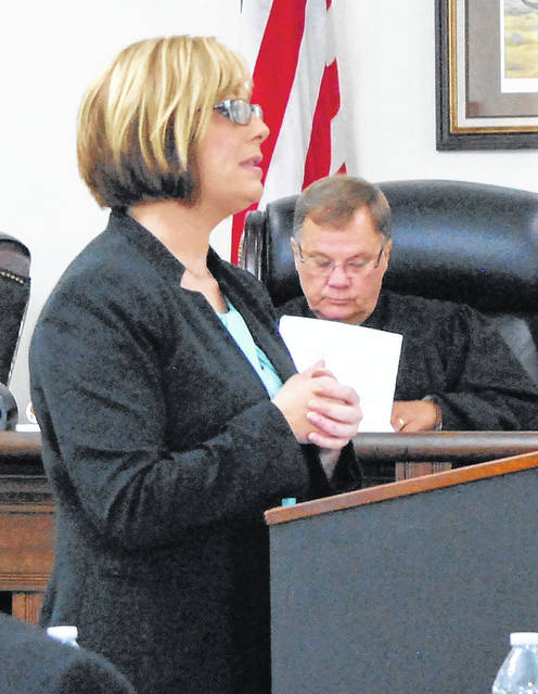 Highland County Prosecuting Attorney Anneka Collins gives closing arguments for the state Thursday at the close of proceedings in the murder trial of James Carver.