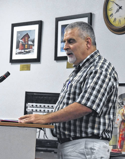 Greg Hefner of the Marion Township Trustees speaks to Blanchester Council about submitting a grant application for a road project at Thursday's meeting.