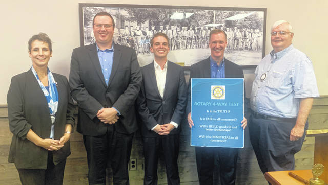 From left are: Katherine Harrison-Tigar, President of Wilmington Rotary; Wil Lloyd and Tyler Reed, staff members for U.S. Rep. Steve Stivers; Stivers; and Tom Popp, Past President of Wilmington Rotary.