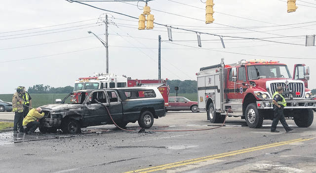 The Wilmington Fire Department and Police Department responded to the scene of a pickup truck fully engulfed in flames near the Elks Golf Club on Rombach Avenue at about 12:45 p.m. Tuesday. No injuries were reported.