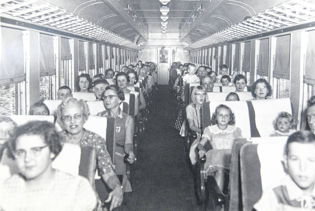 This is another photo of riders on the last B&O passenger train through Wilmington. Do you recognize anyone? Let us know at info@wnewsj.com. The photo is courtesy of the Clinton County Historical Society. The Clinton County History Center is now open Saturdays 10 a.m.-2 p.m. For more info, visit www.clintoncountyhistory.org; follow them on Facebook @ClintonCountyHistory; or call 937-382-4684.