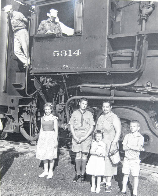 """This photo of the last B&O passenger train through Wilmington states on the back the back that it is of """"Kathryn McNemar along with Donald, Anne, Jimmy and Susie."""" It is courtesy of the Clinton County Historical Society. The Clinton County History Center is now open Saturdays 10 a.m.-2 p.m. For more info, visit www.clintoncountyhistory.org; follow them on Facebook @ClintonCountyHistory; or call 937-382-4684."""