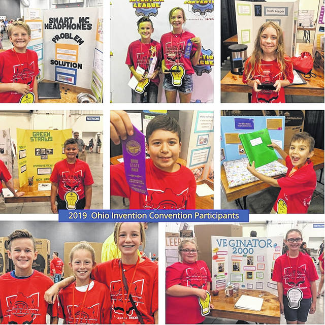 This collage of photos shows Clinton-Massie student-inventors at the Ohio State Fair.