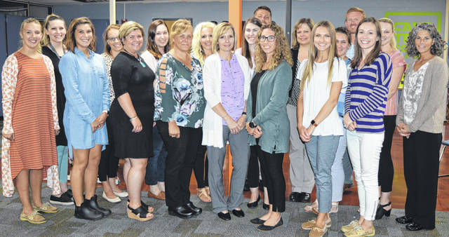 These are among the newly employed educators at Wilmington schools. From left in the front row are Taylor Rains, Laney Wilson, Marilee Tanner, Leanne Bishop, Misty Ewry, Maggie Parsons, Makayla Hopple, and Meagan Sweeney; from left in the middle row are Rachel Pierce, Jenny Spurlock, Allyson Bucher, Ali Kohls, Alyssa Jenkins, Maria Loyd (partly hidden), Brittany Larkin (partly hidden), and Elizabeth Biggane; and from left in the back row are Connor Caldwell, Tonya Gehringer, and Ryan Schlater.
