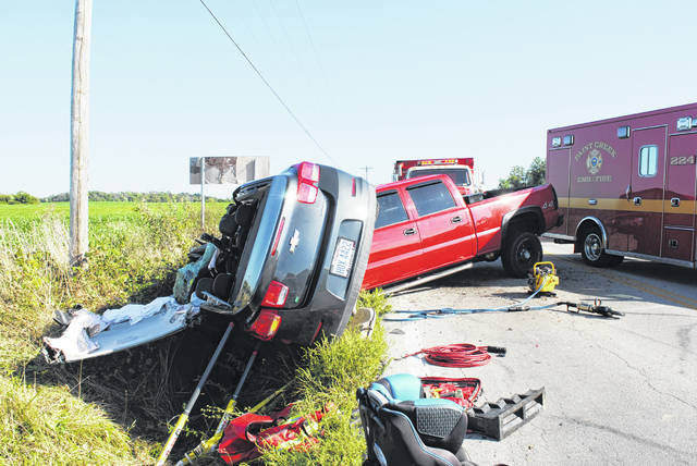 An Ohio State Highway Patrol Trooper told The Times-Gazette on Thursday that a vehicle veered left of center and struck a boat, causing this accident on SR 73, approximately one mile south of New Vienna near Ross Road. The vehicle that struck the boat was then hit head-on by another vehicle. The driver who was at fault was flown from the scene by helicopter, but the trooper said the driver's injuries were not life-threatening. A trooper at the scene said drugs or alcohol use were not believed to be involved. The state patrol said no further details were available at press time.