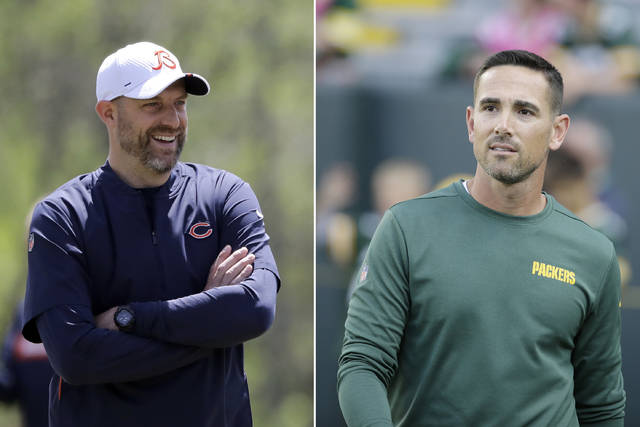 FILE - At left, in a May 22, 2019, file photo, Chicago Bears head coach Matt Nagy smiles during NFL football practice in Lake Forest, Ill. At right, in an Aug. 8, 2019, file photo, Green Bay Packers head coach Matt LaFleur walks onto the field before an NFL preseason football game against the Houston Texans, in Green Bay, Wis. The NFL's most ancient rivals open the league's 100th season with a flipped script: A year after the Bears went to Green Bay to open the season with a new look under coach Matt Nagy, the Packers are trying to do the same at Chicago under coach Matt LaFleur, a drastic change for quarterback Aaron Rodgers going against Khalil Mack and the Bears' defense. (AP Photo/File)