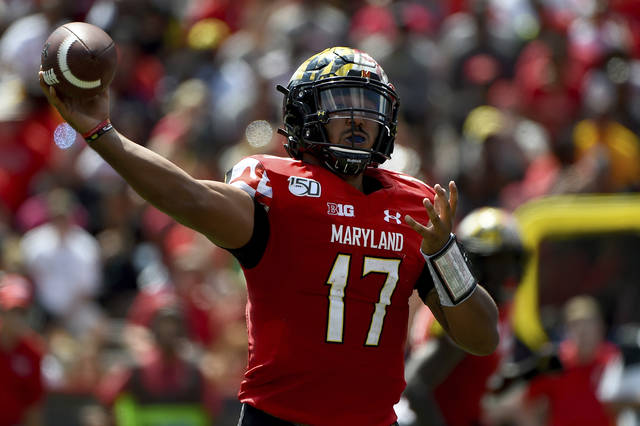 Maryland quarterback Josh Jackson (17) passes the football during the first half of an NCAA college football game against Syracuse, Saturday, Sept. 7, 2019, in College Park, Md. (AP Photo/Will Newton)