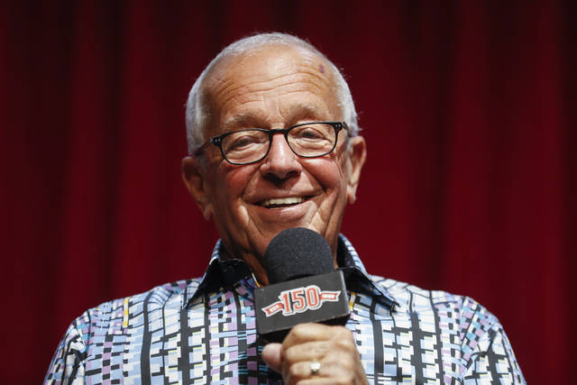 Cincinnati Reds Hall of Fame announcer Marty Brennaman speaks during a news conference to discuss beginning his final series before heading into retirement, Tuesday, Sept. 24, 2019, in Cincinnati. (AP Photo/John Minchillo)