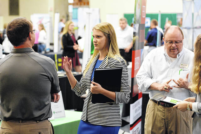 MacKenzie Dirmeyer is pictured meeting with a business recruiter at last year's Fall Career Fair at WC.