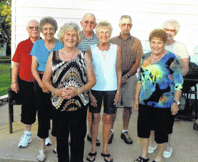 From left are: front row, Faye (Huff) Wiget and JoAnn (Hartman) Lindsey; second row, Rita Georges Estell and Judy Hawk Stewart; and, third row, Noel Heston, Larry Fisher, Don Henry and Beverly (Lindsey) Kidder.