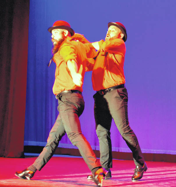 "Alex Rhinehart, left, showed off his tap-dancing skills with Cole Haugh to ""A Friend Like Me"" from ""Disney's Aladdin"" at Dancing with the Stars."