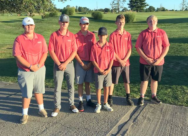 The Astros, from left to right, Gage McConahy, Lane Baker, Evan Stewart, Nathan Ellis, Quinton Tolle, Cody Chaney