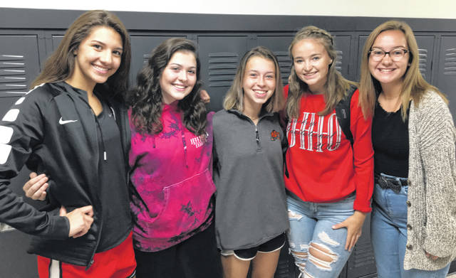 The 2019-2020 Wilmington High School Key Club officers are, from left: Sami McCord, Secretary; Emily Walls, President; Autumn Housh, Vice President; Kylie Bayless, Media Director; and Regan Sparks, Treasurer. Not Shown is Hannah Gaines, Editor.