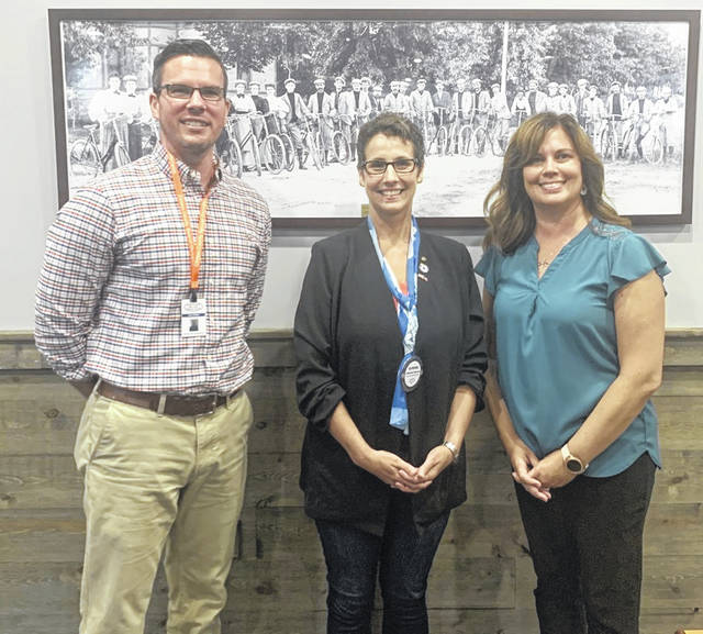 From left are: Josh Adkins, Community Integration Coordinator; Katherine Harrison-Tigar, President of the Wilmington Rotary Club; and Shanon Bene, Employment First Coordinator. Adkins and Bene are employed by the Clinton County Board of Developmental Disabilities.