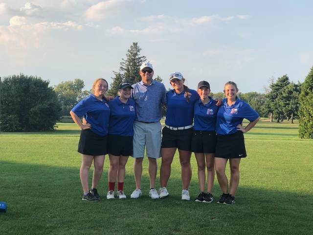 Clinton-Massie girls golf 9-hole record-setters, from left to right, Pearl Spurlock, Luci Payne, head coach Tim McGraw, Gabby Woods, Taylor Anderson, Abby Schneider