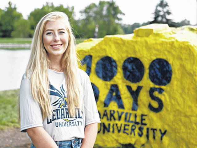 Greenfield resident Lauryn Gibson is pictured on the Cedarville University campus.