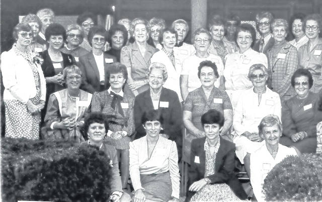 Thirty-six female employees of the Clinton County Air Force Base — who worked there between 1943 and 1971 (when the base closed) — gathered at the Buck-I-Lodge in 1983. From left are: front, Beverly Russell, G.G. Walker, Susan Kienle and Wanda Little; second row, Kitty Bolton, Carol Wilson, Wilma Linehan, Ellen Opp, Vergia Day, Letha Schroeder and Virginia Peterson; third row, Linda Snodgrass, Ruth Esther Moomaw, Joycelyn Martin, Ann Stroud, Jeannette Swigert, Vivian Morris, Marjorie Sprouse, Jane Rhonemus, Joyce Wells and Jean True; back row, Ann Thompson, Shirley Louderback, Helen Potter, Betty Bowers, Marjorie Jefferis, Norma Grisham, Helen Hallstead, Mary Ann Fearing, Betty Beegle, Marthajane Joy, Carolyn Thornburg and Carole Bogan. Not shown are Lee Griffith, Betty Burris and Willadean Babb.