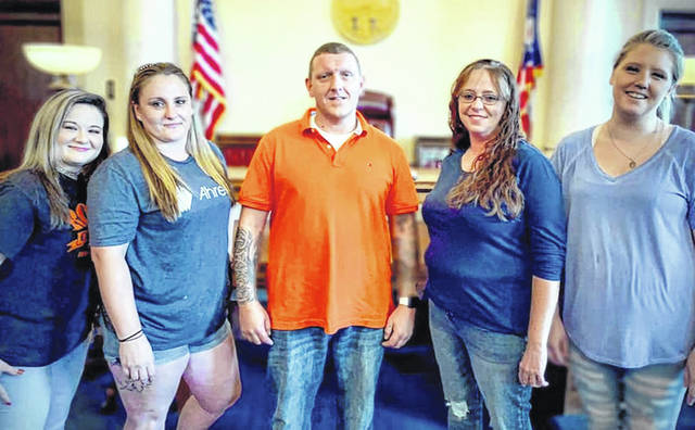 From left are Chelsea Sherwood, Caitlin Howell, Charles (Dustin) Rhinesmith, Erin Garrett and Karissa Purcell Cox. Ashley Huffman was unavailable for the photo.