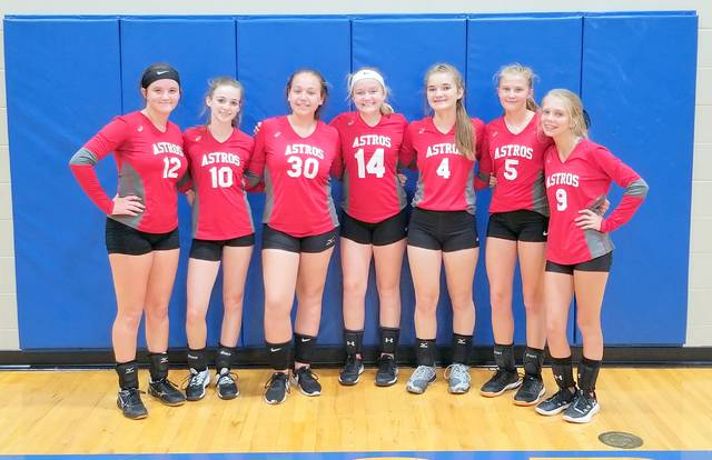 The East Clinton freshman volleyball team, from left to right, Eryn Bowman, Trinity Bain, Cadence Howard, Lauren Stonewall, Savannah Tolle, Megan Tong and Aubrie Simpson.