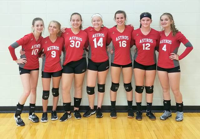 The East Clinton freshman volleyball team, from left to right, Trinity Bain, Aubrie Simpson, Cadence Howard, Lauren Stonewall, Kami Whiteaker and Eryn Bowman.