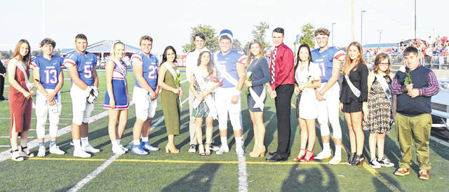 Clinton-Massie honored its homecoming court Friday night. From left are Sydney Crowe, Gabe McDowell, Colton Doyle, Lillian Sweeney, Brendan Lamb, Mileigh Marshall, Ben Ryan, 2019 Queen Ally Wellman, 2019 King Braxton Green, Lauren Amberger, Nate Baker, Kendall Anderson, Tate Olberding, Molly Lynch, Brei Wulf, and Will Marler.