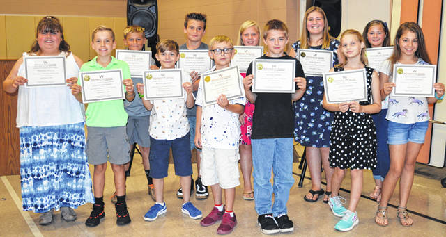 "The Wilmington City Schools Board of Education recognized East End Elementary students for ""being a great role model, a leader, and hard working."" In the front row from left are Michala Welch, Colton Anderson, Wyatt Mounts, Ryder Pauley, David Young, Allie Martin, and Payton Watson; and in the back row from left are Jacob Scott, Damian Bell-Simpson, Emily Goodwin, Lynn Rogers, and Izzy Rhoads. Recognized students not pictured are Mckenzie Lightle, Makaelynn Harris, Matthew Manson, Tannor Loos, Kendall Beus, Zihanna Charles, and Marco Curtis."