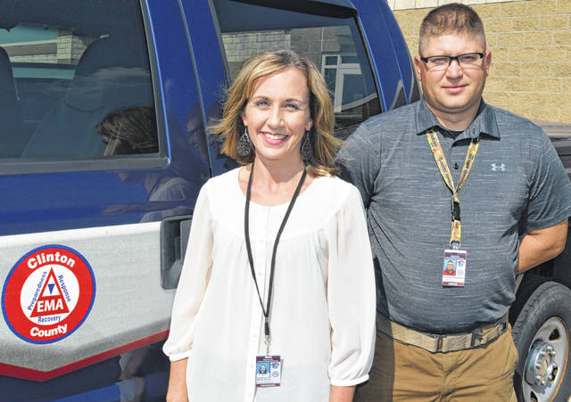 From left are new Clinton County Emergency Management Agency staffers Misty Dixon and Nicholas Robinson.