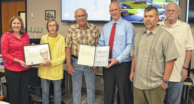 From left are Wilmington NWS Meteorologist Ashley Novak, honoree Nancy Pickard, husband Kent Pickard, Wilmington NWS Science and Operations Officer Seth Binau, Wilmington NWS Observing Program Leader James Gibson, and retired Observing Program Leader Don Hughes.