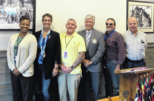 Shown are: Ka'Shira Myburgh, Intensive Supervision Officer; Katherine Harrison-Tigar, President of the Wilmington Rotary Club; Dustin Rhinesmith, a graduate of You-Turn;, Tim Rudduck, Judge of Clinton County Court of Common Pleas; James Crafton, professional licensed social worker; and Dr. Mike Newman, Physician for the You-Turn Program.