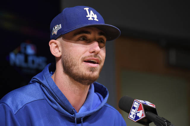Los Angeles Dodgers' Cody Bellinger answers questions during a news conference prior to practice for Game 1 of the NLDS baseball game against the Washington Nationals, Wednesday, Oct. 2, 2019, in Los Angeles. (AP Photo/Mark J. Terrill)