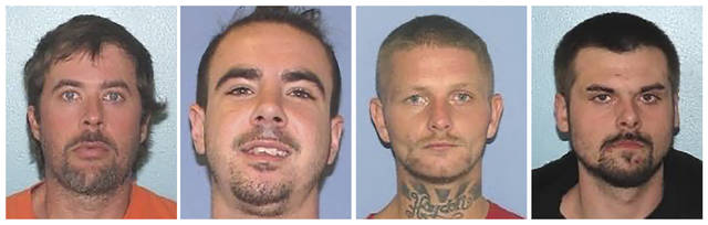 This combination of undated images provided by the Gallia County Sheriff's Office shows from left to right, Brynn Martin, Christopher Clemente, Troy McDaniel Jr. and Lawrence Lee III.  Three of the four inmates who overpowered two female corrections officers and escaped from an Ohio county jail on Sunday, Sept. 29, 2019, were caught in North Carolina Monday, Sept. 30.  The overcrowded Ohio county jail where the  inmates escaped has been repeatedly cited by state inspectors for its lack of a security perimeter, broken security cameras, no two-way radio system and the failure by administrators to show whether corrections officers conducted contraband searches or performed daily counts of inmates. (Gallia County Sheriff's Office via AP)