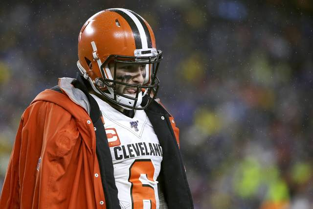 Cleveland Browns quarterback Baker Mayfield walks on the sideline in the second half of an NFL football game against the New England Patriots, Sunday, Oct. 27, 2019, in Foxborough, Mass. (AP Photo/Steven Senne)