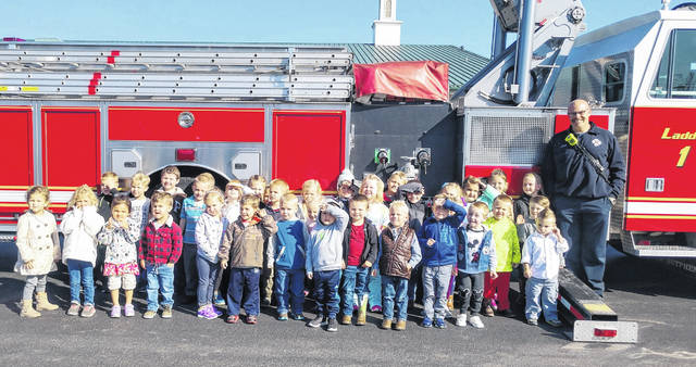 In observance of Fire Prevention Month, the Wilmington Fire Department with firefighters Jack Coates and Bill Jones visited the preschool classes at Bright Beginnings Tuesday School at Bible Baptist Church Wilmington.