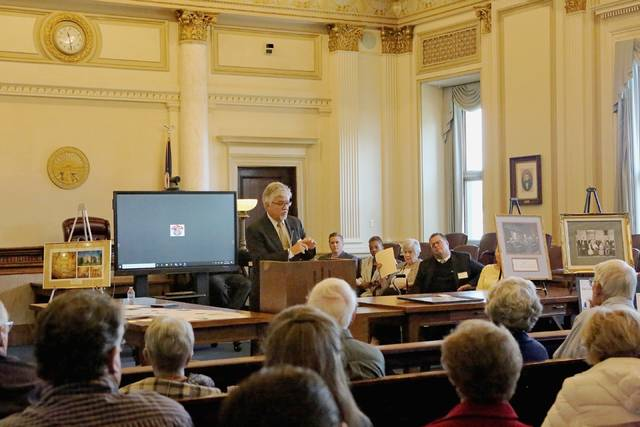 Common Pleas Judge Tim Rudduck shares stories during the 100th anniversary celebration of the Clinton County Courthouse on Saturday.