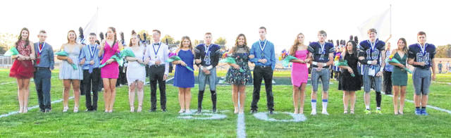 From left are members of the 2019 Blanchester homecoming royalty: Hailey Mulvihill, Brysen Jackson, Luiza Ozeas, Taylor Cochran, Caili Baumann, Alexandria Buerkle, Matthew O'Neill, Kelsey Naylor, Andrew Frump, Eliana Tacoronte, Adam Bockhorst, Ally Davis, Tanner Creager, Ashlin Benne, Carter Abbott, Samantha Naylor and Nate Combs. The 2019 queen is Ally Davis and king is Tanner Creager.