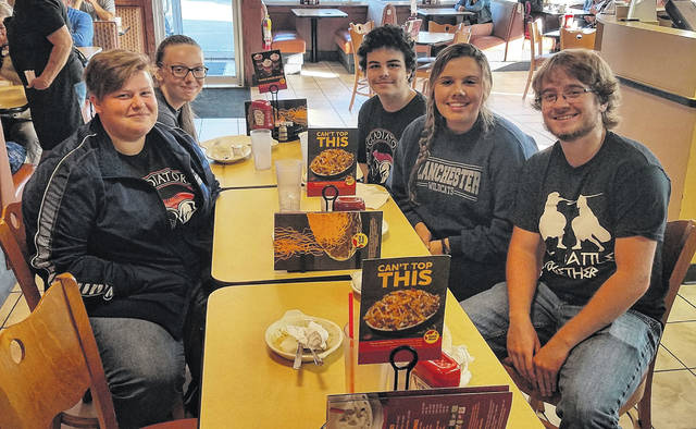 "Blanchester seniors Abbi Lindsay, Eliana Tacoronte, and Jonathan Trivett along with freshmen classmates Jared Farler and Kaylie Paugh (Class of 2023) were treated to breakfast at Gold Star by their superintendent for participating in the school district's opening day Convocation. ""Their participation in our Convocation was a blessing to all the employees in the district. It's just a little gesture to say thank you to each of them for faithfully using the gift(s) they have received to serve others,"" said Superintendent Dean Lynch."