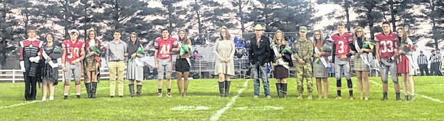 Kiya Byrd was crowned queen and Mason Huff was crowned king during East Clinton's homecoming last Friday night in Lees Creek. From left are sophomore attendants Preston Pauley and Arwen Griffith; King Huff and Queen Byrd; senior attendants John Cline, Jestiny Hughes, Wyatt Riddle, Emma Malone; 2018 Queen Megan Stewart; senior attendants Caden Stewart, Kori Kyle, Tristan Burkitt, Mersadees Gulley; junior attendants Branson Smith, Alexis Taylor; and freshman attendants Ethan Kessler and Trinity Bain.