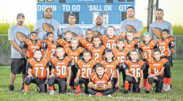 The Wilmington Hurricane Youth Football Program bantam team will play 11 a.m. Sunday against Springboro at Kettering's Roush Stadium for the Western Ohio Junior Football Conference Gold bracket championship. Team members and coaches are, from left to right, front row, Jaron Keplinger, second row, Cohner Friend, Carson Hornschemeier, Jaxon Klontz, Devin Becker, Noah Foster, Braxton Reed; third row, Noah Ruddle, Bensen Harpen, Easton Roe; fourth row, AJ Ashcraft, Malique Nance, Joey Bennett, Khaleeq Andrews, Ben Bechard, Jaxson Manning, Elijah Long, Rahlyn Goings; back row, coach Phil Soales, coach Jamie Pritchett, coach Mike Keplinger, head coach Mario Stewart, coach Ben Reed, coach Mark Harpen.