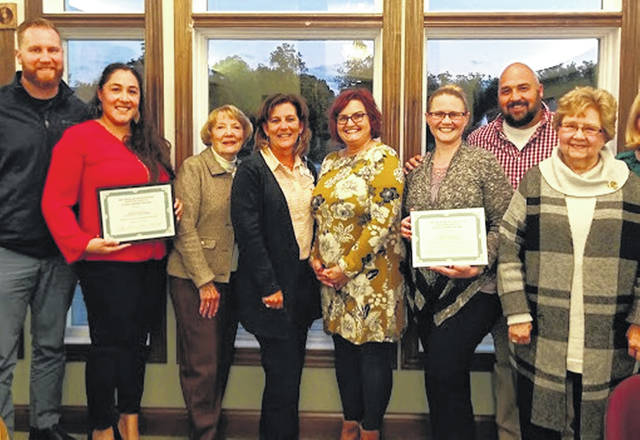 The Scholarship Committee and members presented scholarships to Lillian Collins and Kristen Andrews, who both work at CMH, as well as to Victoria Lanter, who was unable to attend.
