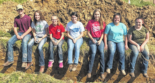 The Wilmington FFA traveled to Highland County near Hillsboro Oct. 1 to compete in the District 9 Rural Soil Judging CDE, an educational activity designed as a practical method of teaching students to evaluate land and soil and to make decisions when faced with soil-related issues that affect agricultural production. Seven members competed. Wilmington FFA finished 13th on the day.The Wilmington FFA members who competed are, from left, Kyle Bryant, Courtney Parker, Mikala Hatfield, Rachel Lowe, Lexus Reiley, Emma Bryant and Haylee Wright.