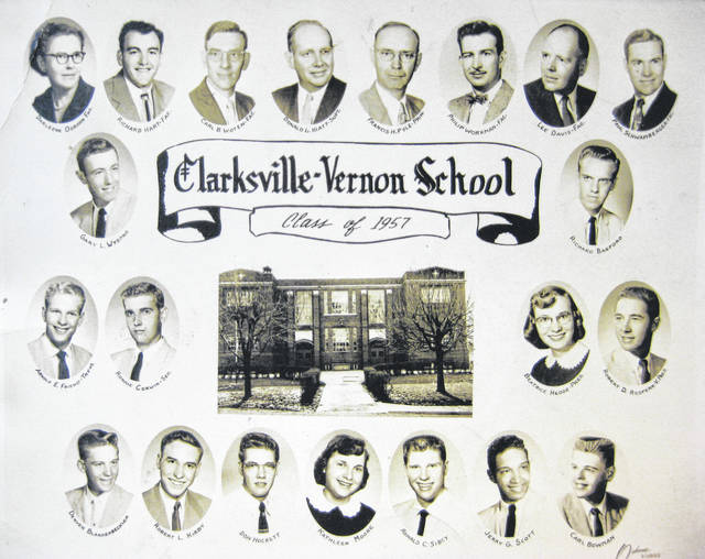 "This photo is of the Clarksville-Vernon School Class of 1957. Listed from left are: starting at top, ""Darleene Osborn Fac. (Faculty), Richard Hart Fac., Carl B. Woten Fac., Donald L. Hiatt, Supt., Francis H. Pyle, Prin., Philip Workman, Fac., Lee Davis Fac., Paul Schwamberger, Fac., Gary L. Wysong, Richard Bagford, Arnold Friend, Ronnie Corwin, Beatrice Hedge, Robert Redfern, Denver Blankenbeckler, Robert Kirby, Don Hockett, Kathleen Moore, Ronald Sibcy, Jerry Scott, and Carl Bowman."" It is courtesy of the Clinton County Historical Society. The Clinton County History Center is now open Saturdays 10 a.m.-2 p.m. For more info, visit www.clintoncountyhistory.org; follow them on Facebook @ClintonCountyHistory; or call 937-382-4684."