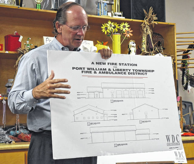Chris Widener, an architect of the WDC Group of Springfield, talks to locals about a possible design and layout of a new Port William-Liberty Township fire station at an information meeting at the Port William Senior Center.