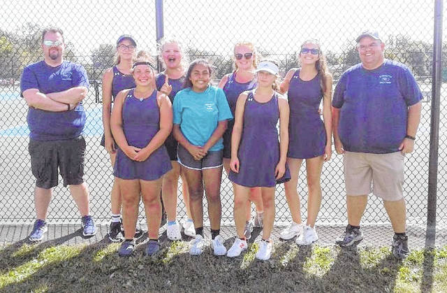 The Blanchester High School tennis team this season won its 12th SBAAC National Division championship since 2003. Team members are, from left to right, front row, Maddy Coyle, Mia Torres, Grace Irwin; back row, assistant coach Mike Sexton, Annie Trovillo, Taylor Bradley, Ashleigh Osborn, Kayla Allen, head coach Matt Sexton. The tennis season continues on Thursday with the Division II sectional tournament at the Lindner Family Tennis Center.
